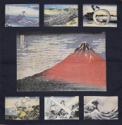 Furoshiki Wrapping Cloth Navy Hokusai Aka Fuji Collection Motif Japanese Fabric 50cm