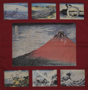 Furoshiki Wrapping Cloth Red Hokusai Aka Fuji Collection Motif Japanese Fabric 50cm