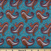 Quilting Fabric Paisley Dance Turquoise/By the yard