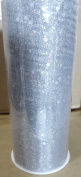 Organza, silver with silver sparkles, 15cm X 25 yards, one roll