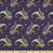Quilting Fabric Paisley Dance /Navy/By the yard
