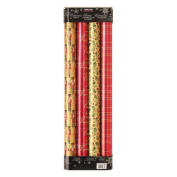 Kirkland Signature, 4 pack gift wrapping paper 945052 red/gold
