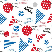 Blue and Red Geometric Birthday Wrapping Paper - 1.8m Roll