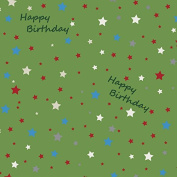 Stars on Green Birthday Wrapping Paper - 1.8m Roll