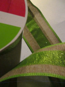 6.4cm x 6.4m Wired Lime Green / beige stripe designer ribbon