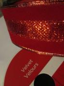 Wired Red Velour/Metalic 6.4cm x 7.6m Designer Ribbon