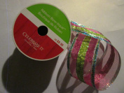 6.4cm x 7.6m Wired Metalic Fuchsia/Lime/Turquoise Glittered ribbon
