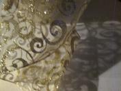 13cm X 7.6m WIRED PLATINUM SCROLL/SHEER RIBBON