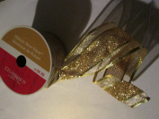Wired 6.4cm . x 7.6m Gold glitter Designer Ribbon