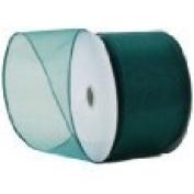 10cm . x 7.6mwired Turquoise glittered net Ribbon