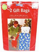 Gift Bags,2 Bags with Glitter Tags & Yarn,60cm x 90cm