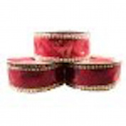 3.8cm x 7.6m Red Velvet/ gold wired edge ribbon