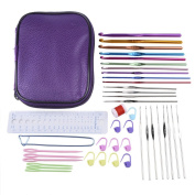 eBoot Mixed Aluminium Handle Crochet Hooks Knitting Needles Knit Craft Set with Compact Carry Case