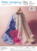 Peter Gregory Double Knitting DK Pattern - 733 Baby's Lacy or Cable Knit Shawls & Pram Covers