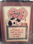 A House is not a home without a Cat cross stitch kit - 13cm x 18cm with frame