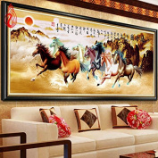 YGS-94 DIY 5D Diamonds Embroidery Eight Horses Win Instant Success Magic Cube Round Diamond Painting Cross Stitch Diamond Mosaic