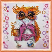 """Beaded DIY Embroidery Kit """"Owl and coffee"""""""
