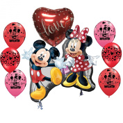 Mickey and Minnie Mouse I love You Balloon Bouquet