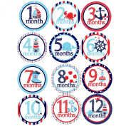 Set of 12 Monthly Baby Stickers for Photos and Bodysuits nautical