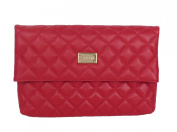 St. John Quilted Nappa Leather Fold Over Clutch Bag, Red
