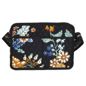 Sister Brother Black Floral Quilted Camera Case Crossbody Handbag Made in USA