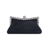 SelfTek Womens Ladies Black Crystal Clutch Purse Evening Party Wedding Handbag