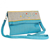 Madaraff Hand Embroidered Cotton Shoulder/Cross Body/ Clutch Bag - Turquoise