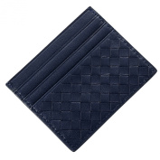 Fashion Story Women Leather Thin Mini Weaved Card Case Holder Front Pocket Wallet