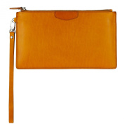UER Unisex Handcrafted High Quality Oil-tanned Leather Wristlet Clutch Medium Organiser Pouch