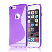 Connect Zone® iPhone 6 (12cm ) Purple Silicone S Line Gel Case Cover + Screen Protector And Polishing Cloth