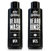 Wild Willies Beard Wash and Conditioner Bundle Packed With Organic Essential Oils And Nutrients to Shampoo and Soften Your Beard Along With Peppermint And Eucalyptus To Leave An Incredible Tingle. Proud American Made!