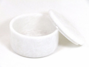White Marble Large Covered Shave Soap Bowl w/Soap