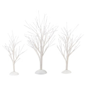 Department 56 Decorative Accessories for Village Collections, White Bare Branch Trees, 5cm , Set of 3
