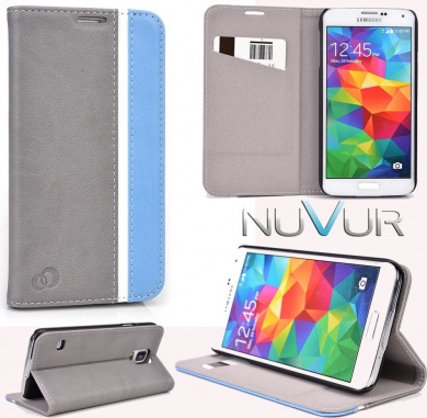 For Samsung Galaxy S5 Accessories Cover Case Flip Stand Grey Baby Blue Nuvur Sgs5cceb By