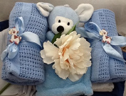 Luxury Newborn Baby Boy Blankets Hamper - free. Message Option