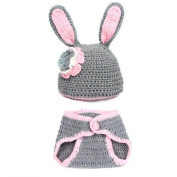 Koly Newborn Baby Rabbit Crochet Knitted Costume Set Photo Prop Outfits 0-9 Months