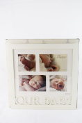Large Collage Our Baby Photoframe White Wooden 4 photographs Gift