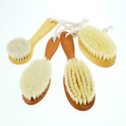 4 x NATURAL BRISTLE HAIR BRUSH FOR BABIES AND CHILDREN. The Complete Set of 4