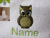 Hooded Towel with a LITTLE OWL Logo and Name of your choice, 100x100cm, 0-5 years