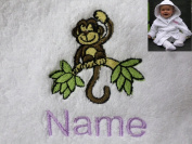Baby Bath Robe with a CHIMP Logo and Name of your choice. 0-9 months, 450gsm