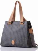 PacaPod Richmond Charcoal Herringbone Designer Baby Changing Bag - Luxury Grey Pattern 3 in 1 Organising System