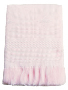 Gorgeous Super Soft Fringed Waffle Shawl with Star Patterning - BABY PINK