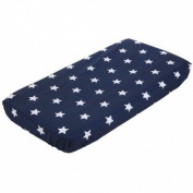 Little Dutch 1156 Cot Bed Fitted Sheet in Dark Blue with White Stars