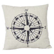 1 X Compass Cotton Linen Pillow Cover- Nautical 46cm x 46cm cushion Cover-throw Pillow Cover