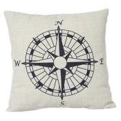 1 X Compass Cotton Linen Pillow Cover- Nautical 46cm x 46cm cushion Cover-throw Pillow Cover