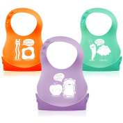 3 Pack Soft Silicone Roll up Baby/Toddler Bibs Creatively Designed By Monkey Loves Tom - Food Catcher Pocket, Waterproof and Easy to Clean.