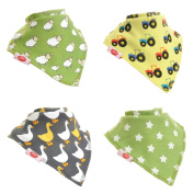 Zippy Fun Baby and Toddler Bandana Bib - Absorbent 100% Cotton Front Dribble Bibs with Adjustable Straps (4 Pack Gift Set) Farm