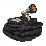 30m Extra Durable Expandable Black Garden Water Hose with Triple Latex Core Brass Fittings and Free 9-function Sprayer
