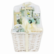 Invero® 7 Piece Ladies Magnolia Bloom Bath Hamper Gift Set - Presented with a Luxurious Wooden Basket, Ribbon and Name Tag - Ideal Gift for Loved Ones, Family or Friends