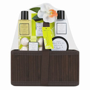 Invero® 5 Piece Ladies Basmati and Palm Leaf Bath Hamper Gift Set - Presented in Luxurious Wooden Basket with Ribbon ideal Present for Loved Ones, Family or Friends